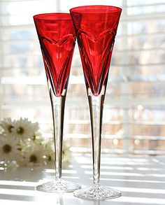 Waterford Love and Romance Red Flutes