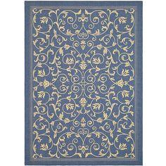 "Safavieh Resorts Scrollwork Blue/ Natural Indoor/ Outdoor Rug (6'7 x 9'6), Size 6'7"" x 9'6"" (Polypropylene, Border)"