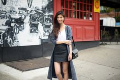 FOREVERVANNY: Maxi Knit & Quilted Leather Skirt
