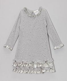 Loving this Silver Sparkle Ruffle Dress - Toddler & Girls on #zulily! #zulilyfinds