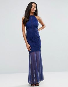 Lipsy Fishtail Maxi Dress With Crochet Lace Bodice - Navy