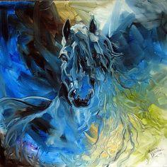 Blue Ghost Friesian Equine by Marcia Baldwin