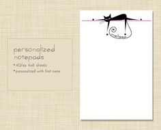 PLEASE AND THANK YOU.  Personalized Cat Note pad Notepad Stationery by EclecticNoteCards, $7.00