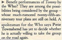 Who, The / Benefit Performances of Tommy | Magazine Article (1989)