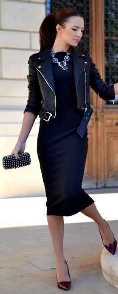 This combo of a black leather moto jacket and a deep blue bodycon dress will attract attention for all the right reasons. Throw in a pair of burgundy leather pumps to instantly up the chic factor of any outfit. Shop this look for $103: http://lookastic.com/women/looks/necklace-biker-jacket-bodycon-dress-clutch-pumps/4849 — Navy Necklace — Black Leather Biker Jacket — Navy Bodycon Dress — Black Studded Leather Clutch — Burgundy Leather Pumps: