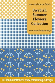 Blue, yellow and white are the colors of this cheerful fabric collection – click on the image to find out more! Fabric Shop, Custom Fabric, Surface Pattern, Surface Design, New Surface, Summer Flowers, Repeating Patterns, Pattern Making, Blue Yellow