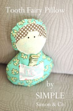 Simple doll tooth fairy pillow tutorial and pdf pattern Sewing Patterns Free, Doll Patterns, Sewing Tutorials, Sewing Crafts, Sewing Projects, Fabric Crafts, Kid Projects, Crafty Projects, Sewing Ideas