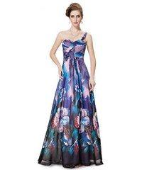 bcb5b7e3ebb0 Ever Pretty Modrofialové květované šaty na jedno rameno Večerní Šaty