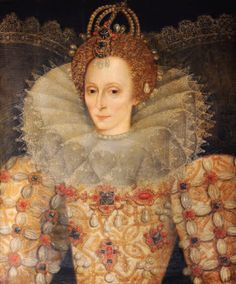 Queen Elizabeth I (1533–1603), English School, circa 1592. A half-length portrait of the Queen wearing a richly embroidered and jewelled dress with elaborate lace ruff and collar. She has a 'moon-jewel' in her hair. The painting is possibly derived from Isaac Oliver's miniature of the ageing Queen.