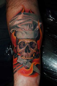 Culinary Tattoo and Chef Symbol - Bing Bilder Food Tattoos, Bff Tattoos, Skull Tattoos, Disney Tattoos, Sleeve Tattoos, Tatoos, Koch Tattoo, Resturant Logo, Colored Tattoo Design