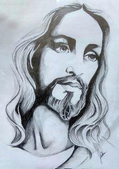 Angel Tattoo Drawings, Jesus Drawings, Jesus Christ Drawing, Jesus Art, Christian Drawings, Christian Artwork, Zombie Drawings, Art Drawings Sketches, Jesus Sketch