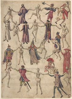 Dance of Death Anonymous, German, 16th Century, pen and brown ink, brush and brown ink, watercolour and gouache, with touches of gold