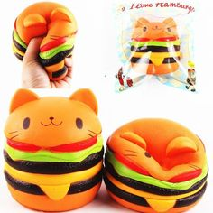 Soft Squishi Squeeze Cat Hamburger Toy