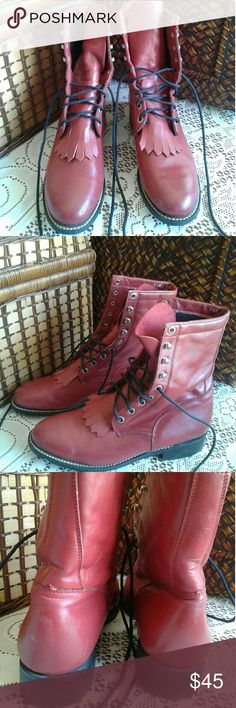 Acme Lacers. Deep red lace up boots.  These have been worn line dancing a few times. There are minor scuffs, but still really cute! Acme Shoes Lace Up Boots
