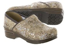 i own these:  Dansko gold leopard clog