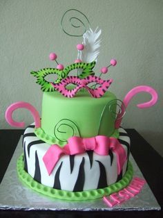 Mask Zebra Print Cake... mint green, hot pink, black & white ...