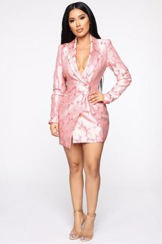 Buy My Own Flowers Blazer Dress - Pink/Combo – Fashion Nova Night Outfits, Girl Outfits, Cute Outfits, Office Dresses For Women, High Waisted Flares, Sweater Set, Fantasy Dress, Blazer Fashion, Women's Fashion
