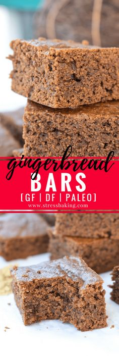 Paleo Gingerbread Bars: Soft and moist cake-like bars with that classic gingerbread flavor and scent. Paleo, gluten free, dairy free, and delicious!   stressbaking.com