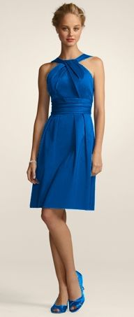 Possible Bridesmaid Dress    http://www.davidsbridal.com/Product_Short-Cotton-Dress-with-Y-Neck-and-Skirt-Pleating-83690_Bridal-Party-Bridesmaids-Short-Bridesmaid-Dresses