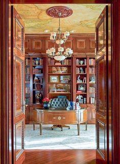 Estilo Tradicional - O clássico que pode ser simples ou luxuoso - Conceito de… Home Library Design, Home Office Design, House Design, Library Ideas, Library Room, Dream Library, Workspace Design, Office Designs, Design Hotel