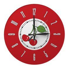 Shop Blue Retro Cherry Large Clock created by opheliasart. Red Kitchen Walls, Kitchen Wall Art, Kitchen Layout, Kitchen Ideas, Kitchen Clocks, Kitchen Cupboard, Kitchen Stuff, Cherries Jubilee, Turquoise Kitchen