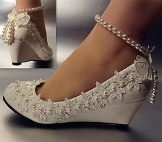 Lace-white-ivory-crystal-Wedding-shoes-Bride-flats-low-high-heel-wedge-size-5-12