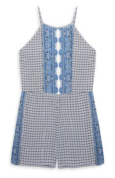 Combi-short tablier bleu motif mosaïque