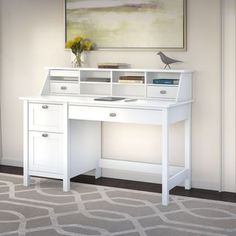 Broadview Single Pedestal Desk & Organizer in Pure White - Bush Furniture traditional look with contemporary flair. Bring style into the home office with the Bush Furniture Broadview Computer Desk with 2 Drawer Pedestal and Organizer. Computer Desk With Shelves, Desk Shelves, Desk Storage, Open Shelves, Shelf, White Furniture, Home Office Furniture, Home Office Decor, Home Decor