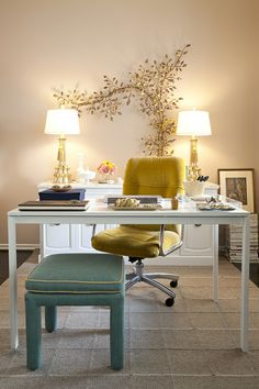 "Love this layout. All the office ""stuff"" in a banquet table behind the desk. Desk floating in the room."