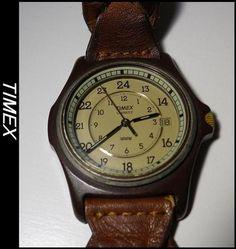TIMEX革ベルトアンティーク調腕時計要電池交換ジャンク Watch timex ¥3500yen 〆04月27日
