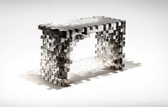 Pixelized console table design | www.bocadolobo.com #bocadolobo #luxuryfurniture #exclusivedesign #interiodesign #designideas #artfurniture #limitedfurniture #consoletable