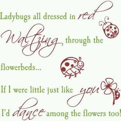Ladybugs dance among the flowers Ladybug Quotes, Ladybug Crafts, Scrapbook Quotes, Quilt Labels, Card Sentiments, Dance Quotes, Beltane, Red Walls, Wall Decals