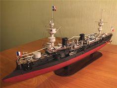 French cruiser Chanzy 1907 1:200 cardboard model