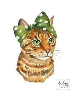 Cat Watercolor Print Tabby Cat Retro Cat by DarlingLolaDesigns
