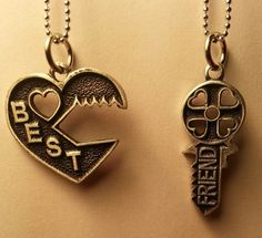 New Key Puzzle Best Friend Necklace - 2 piece Necklace BFF Split - Free Shipping $14.99