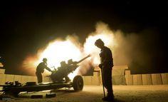 26 Regt Royal Artillery Night Firing At Camp Bastion