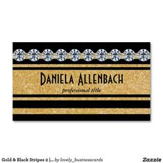 Gold & Black Stripes 2 | Diamonds Business Card #businesscard #gold #goldglitter #diamonds #luxury #businessowner