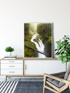 $22.00 · Title: Sol Duc Falls This stunning Pacific Northwest Print is sure to brighten any room and bring the natural world into your space! Bring the joy of Washington to your home :) PRINT DETAILS This… Green Wall Decor, Green Wall Art, Green Art, Washington Art, Washington Hiking, Art Prints For Home, Forest Art, Autumn Nature, Nature Prints