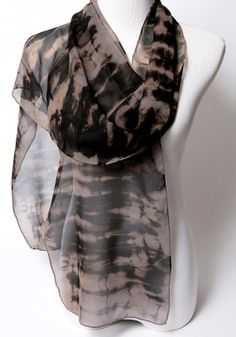Hand Dyed Silk Shibori Scarf Black and Tan Extra Long by OhSuzanni, $85.00
