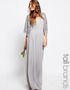 Maya Tall | Maya Tall Wrap Front Pleated Maxi Dress With Lace Sleeve at ASOS