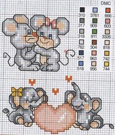 Elefant and mouse Cross Stitch Bookmarks, Cross Stitch Cards, Cross Stitching, Cross Stitch Embroidery, Elephant Cross Stitch, Cross Stitch Animals, Cross Stitch For Kids, Mini Cross Stitch, Embroidery Patterns