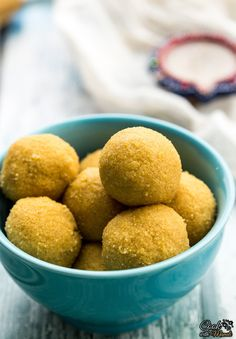 Besan Ladoo - Indian sweet made with chickpea flour, sugar, cardamom and ghee (clarified butter).