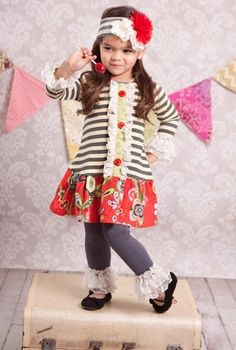 """Giggle Moon """"Dance for Joy"""" Mabel Dress with Ruffle Leggings *PREORDER*Sizes 4-8 - click to enlarge"""