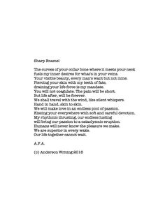 Sharp Enamel Printable poem By A.F.A. (c) Anderson Writing 2016