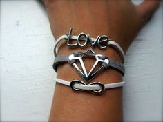 Diamonds Are Forever Boho Trio Bracelet with Tiny by dgowin, $28.00