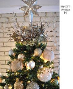 #anthropologie-inspired nest tree topper #tutorial Diy Christmas Tree Topper, Diy Tree Topper, Christmas Tree Tops, Beautiful Christmas Trees, Holiday Tree, Xmas Tree, Christmas Tree Decorations, Christmas Holidays, Christmas Wreaths