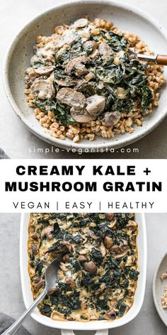 Creamy Kale + Mushroom Gratin (Vegan) - The Simple Veganista - Kale Mushroom Gratin is one of my favorite creamy comfort food dishes. Delicious side filled with kale, mushrooms, vegan cream and topped with an Almond Parmesan! Vegan Recipes Easy, Veggie Recipes, Whole Food Recipes, Vegetarian Recipes, Clean Eating Vegetarian, Clean Eating Recipes, Cooking Recipes, Vegan Side Dishes, Food Dishes