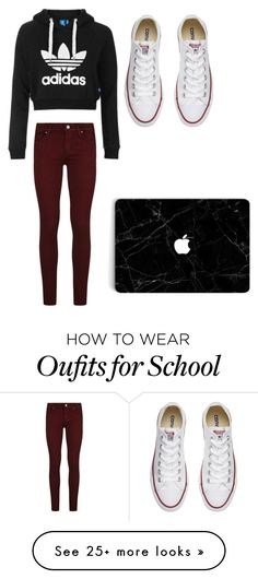 """""""School"""" by jessicacortes on Polyvore featuring Paige Denim, adidas Originals and Converse"""