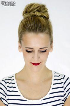 Hair and Make-up by Steph: How To: Fishtail Bun http://blog.hairandmakeupbysteph.com/2012/09/how-to-fishtail-bun.html