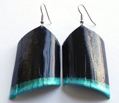 Bike inner tube painted earrings by RebeccaShellyArt on Etsy